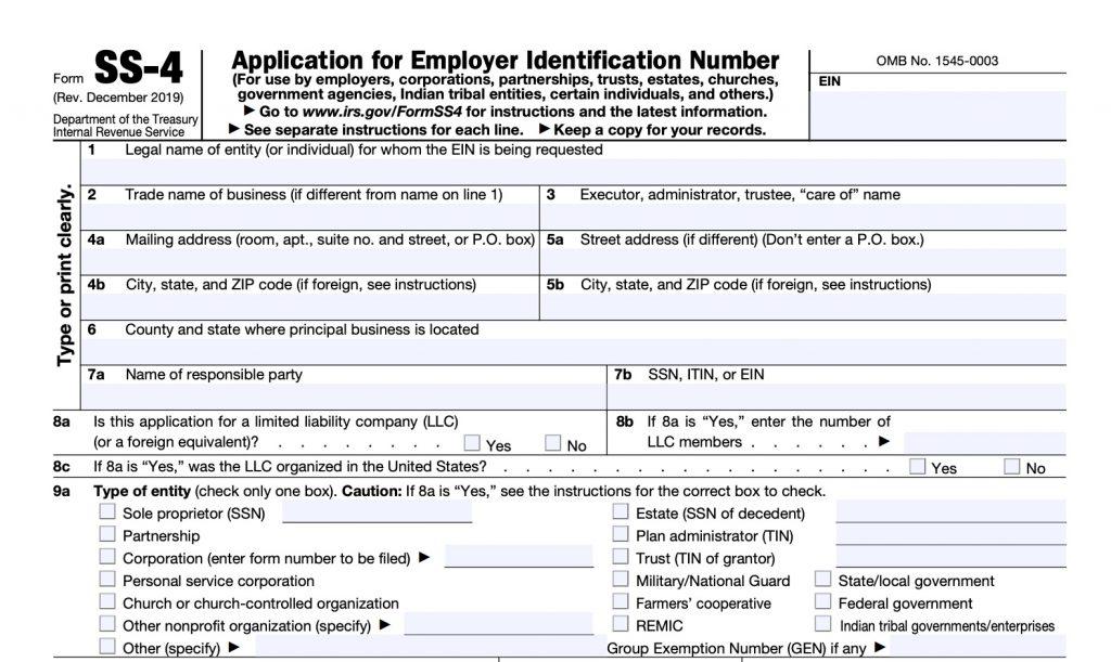 IRS form SS-4 EIN