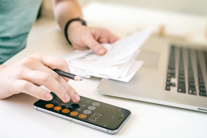 adding up business receipts during tax season