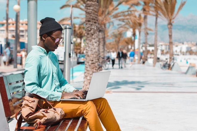 remote business owner working outdoors