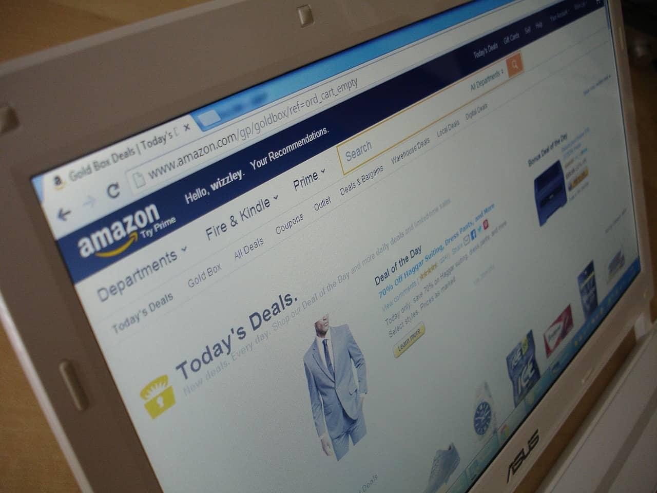 Amazon homepage on monitor