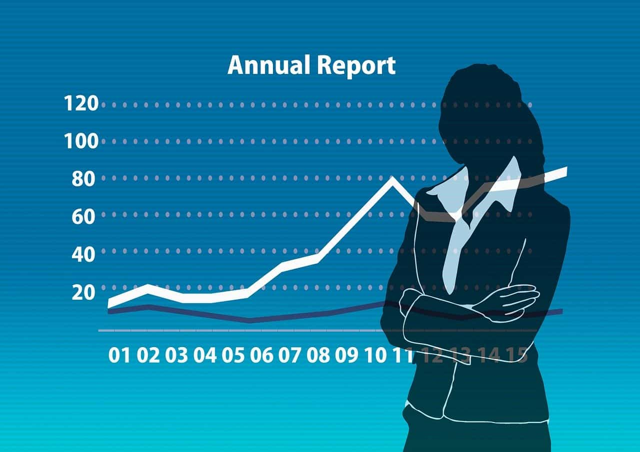 line graph of business growth in an annual report
