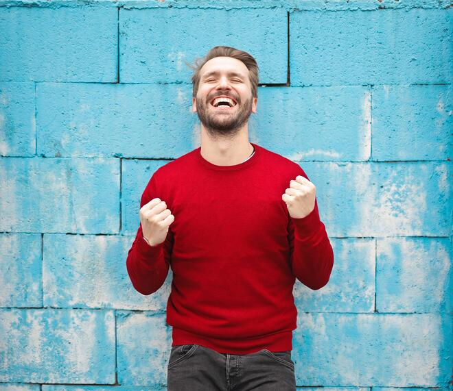 happy man red shirt