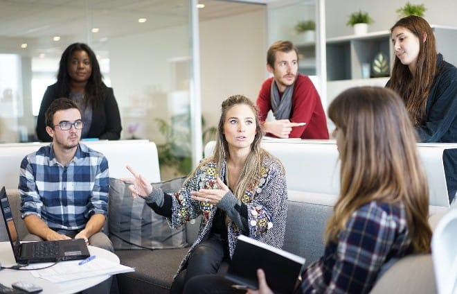 group of people brainstorming in an office