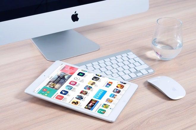 app store open on tablet