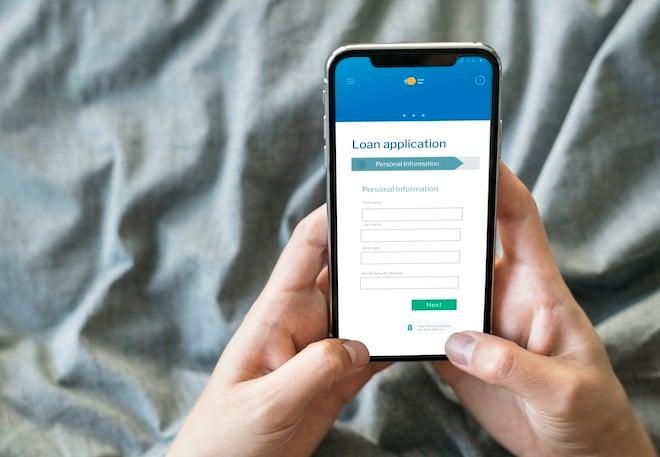 business loan application on smartphone
