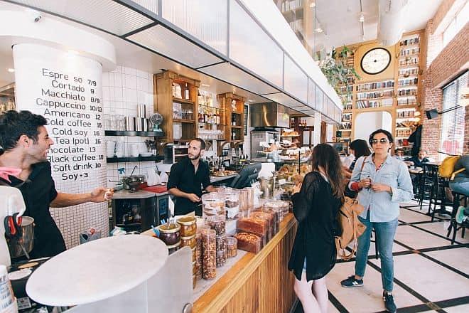 coffee shop staff and customers
