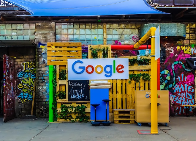 google logo on painted wall
