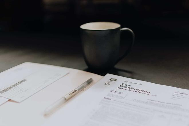 business tax form for coffee cup