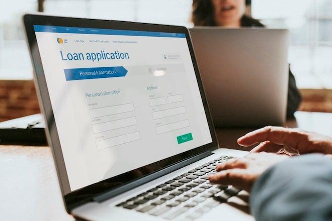 applying for bank loan on computer