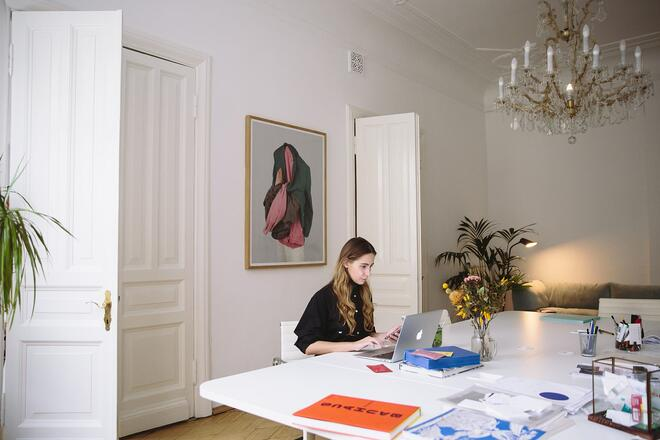 woman working from home at table