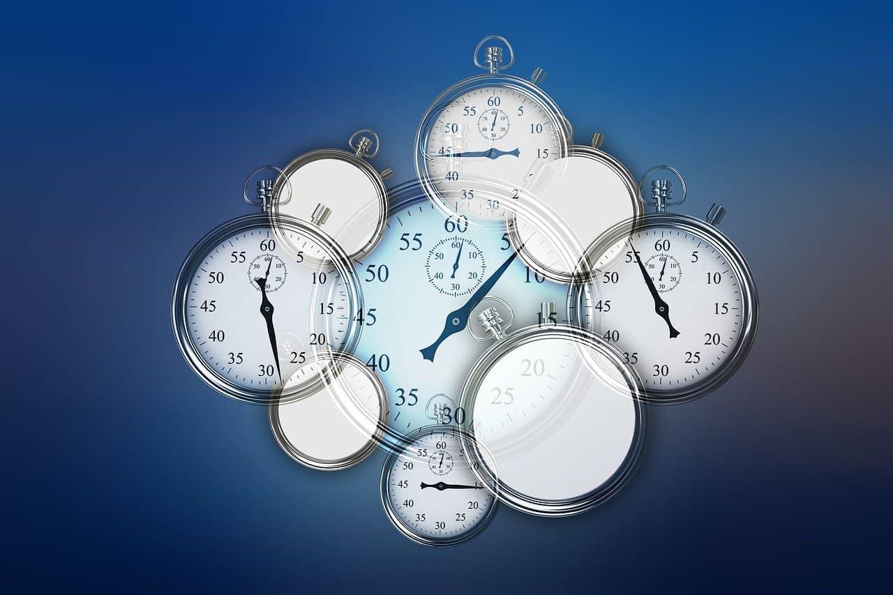 nine clocks overlapping