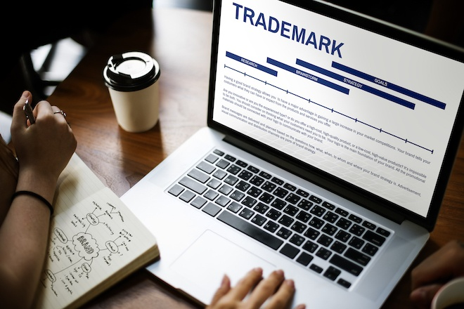a trademark application on a laptop screen