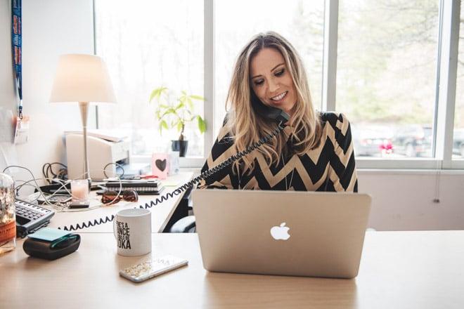 female entrepreneur on the phone