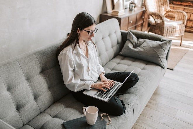 woman working on business remotely
